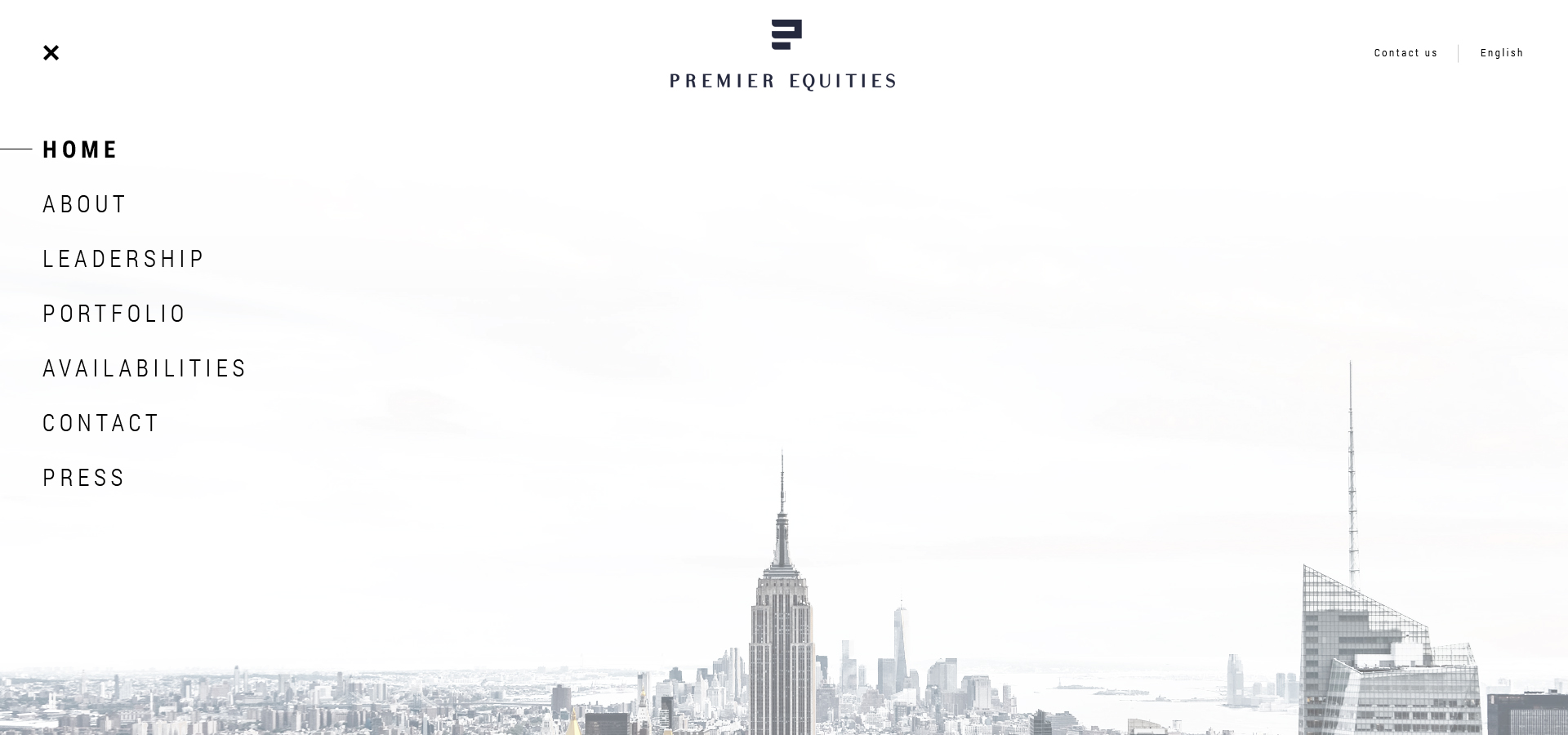 Premier Equities – menu view