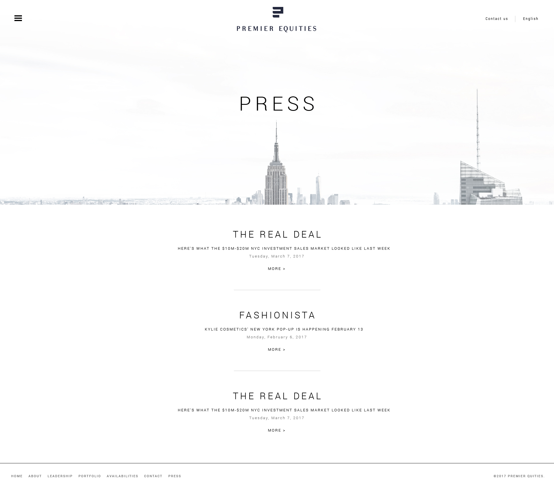 Premier Equities – press view